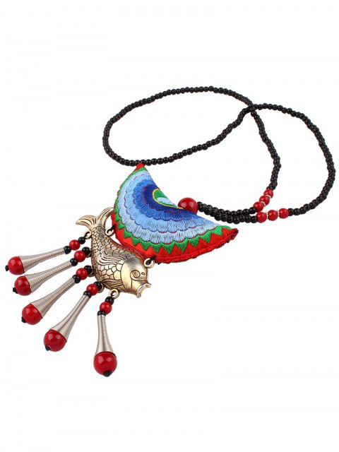 best Fish Tassel Half Moon Pendant Necklace - LIGHT BLUE  Mobile