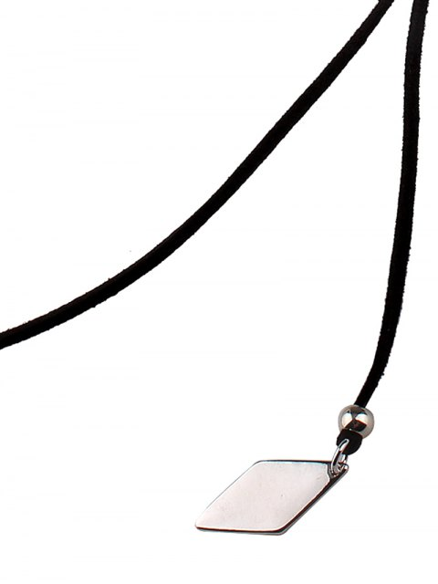 latest Adjustable Rhombus Pendant Necklace - BLACK  Mobile