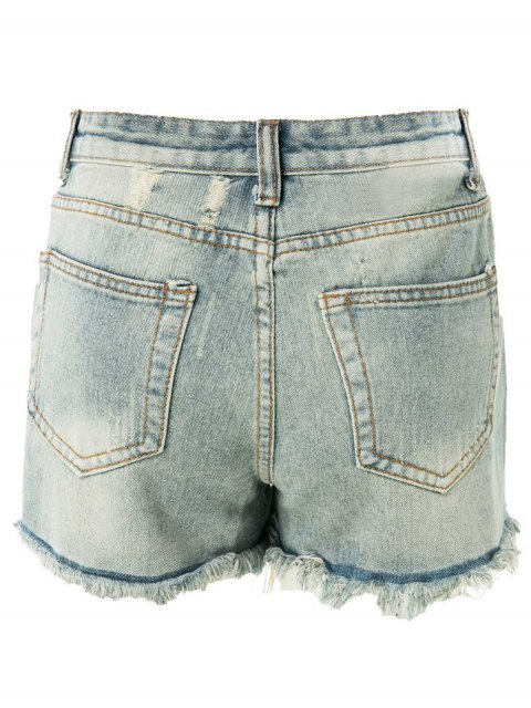 affordable High Waisted Ripped Denim Shorts - LIGHT BLUE M Mobile