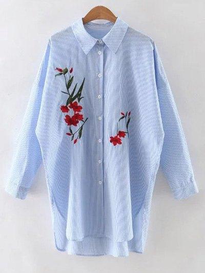 تطريز زهري طويل كم قميص مقلم - الضوء الأزرق L