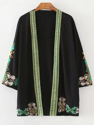 Leaf Embroidery 3/4 Sleeve Kimono Blouse - Black