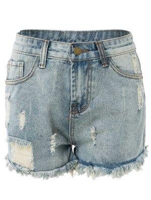 De Cintura Alta Pantalones Cortos De Mezclilla Rasgado - Azul Claro