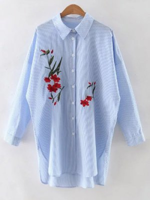 Floral Embroidery Long Sleeve Striped Shirt - Light Blue