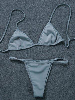 V-String Unlined Bikini Set - Gray