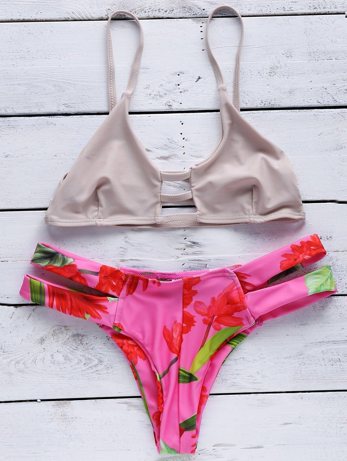 Spaghetti Straps Cut Out Floral Print Bikini Set