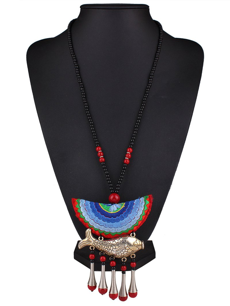 Fish Tassel Half Moon Pendant Necklace
