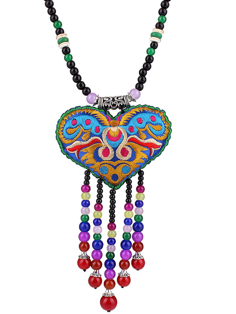 Heart Pouch Beaded Tassel Pendant Necklace For Women