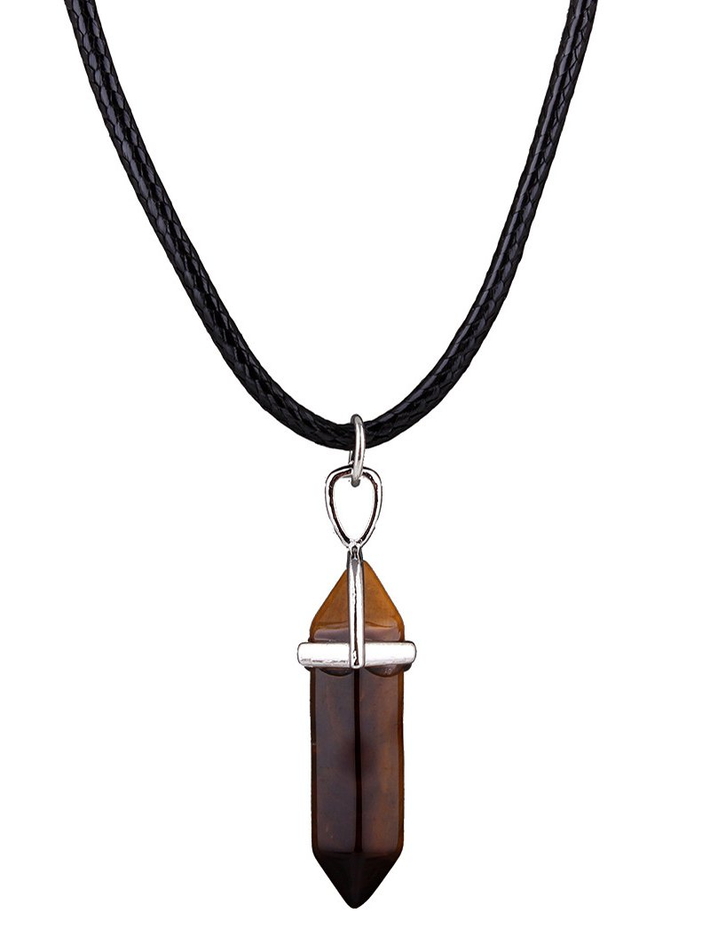 Faux Gem Bullet Shape Pendant Necklace