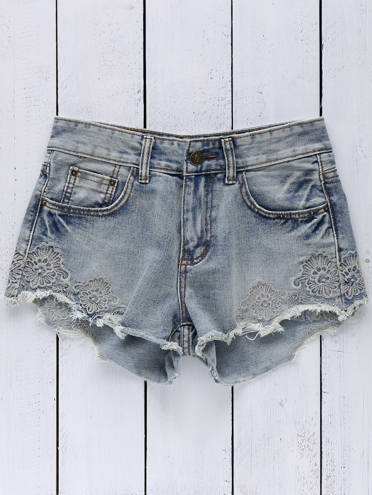 High Wasit Embroidery Denim Shorts