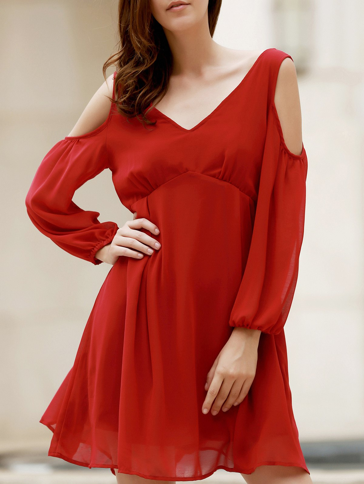 Wine Red Hollow Plunging Neck Chiffon Dress 176572005