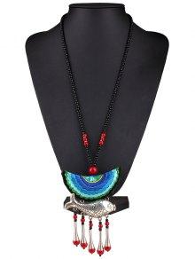Fish Tassel Half Moon Pendant Necklace - Blue