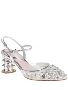 Rhinestone Satin Chunky Heel Sandals - Off-white 39