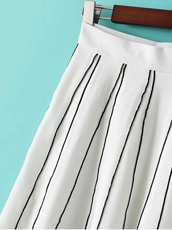 A Line Stripes Skirt - BLACK M Mobile