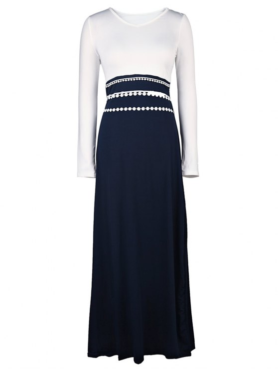lady White and Black Long Sleeve Maxi Dress - WHITE L