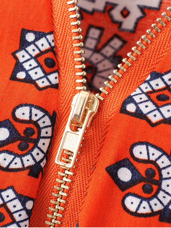 V-Neck Print Short Sleeve Dress - JACINTH L Mobile