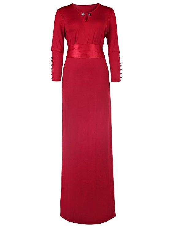 womens Solid Color Cut Out 3/4 Sleeves Sashes Maxi Dress - CLARET L