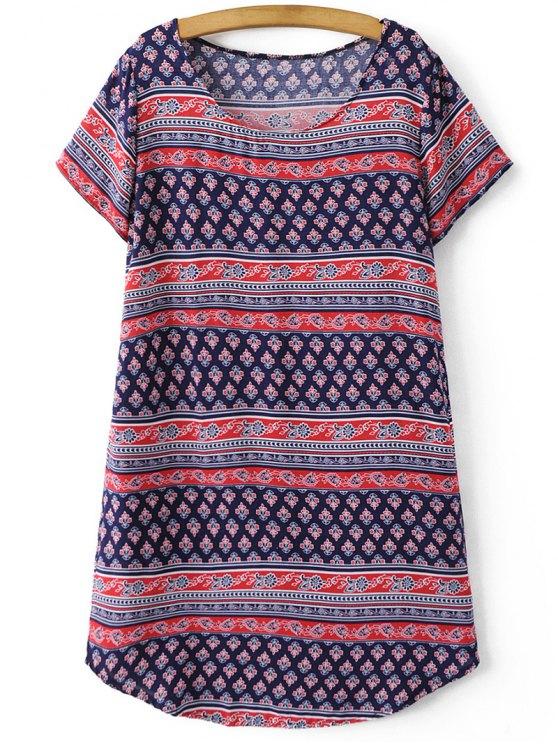 Retro Print Short Sleeve Round Neck Dress - COLORMIX S Mobile