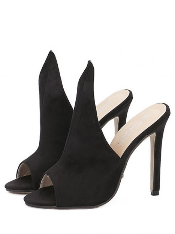 Stiletto Heel Suede Peep Toe Slippers - BLACK 39 Mobile