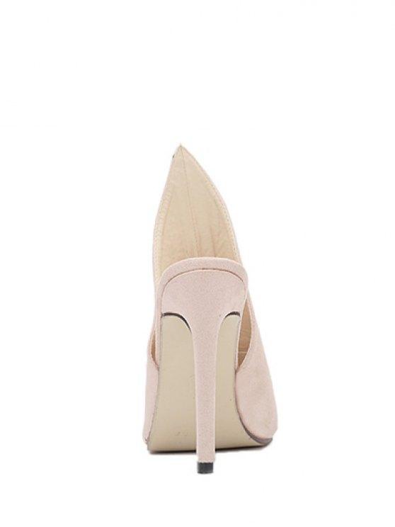 Stiletto Heel Suede Peep Toe Slippers - APRICOT 36 Mobile