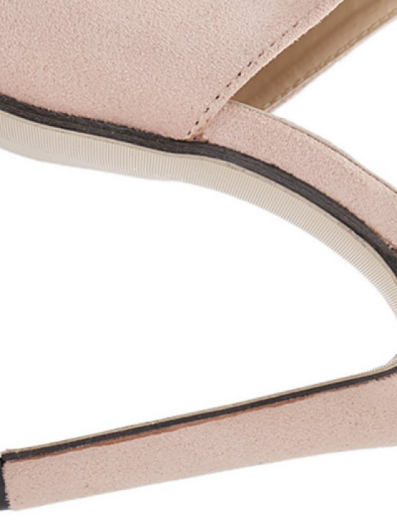 Stiletto Heel Suede Peep Toe Slippers - APRICOT 37 Mobile
