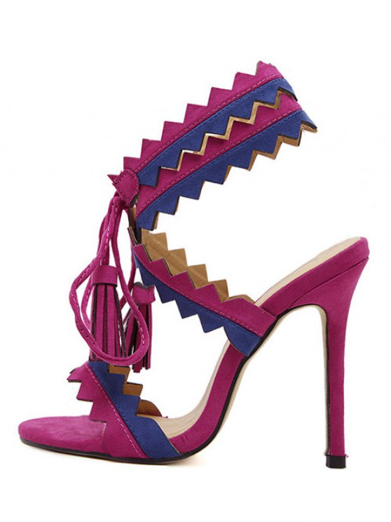 Color Block Sawtooth Stiletto Heel Sandals - ROSE MADDER 38 Mobile