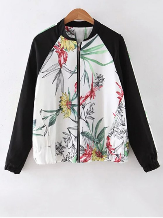 sale Floral Print Stand Collar Baseball Jacket - WHITE S