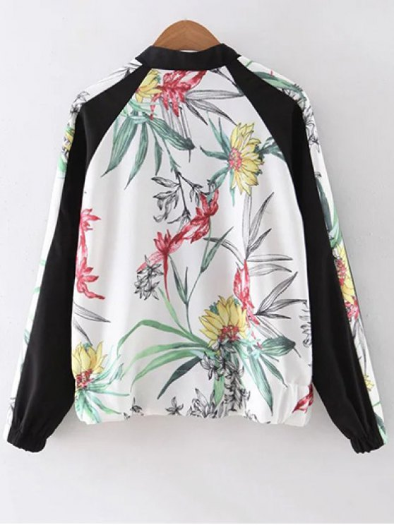Floral Print Stand Collar Baseball Jacket - WHITE L Mobile
