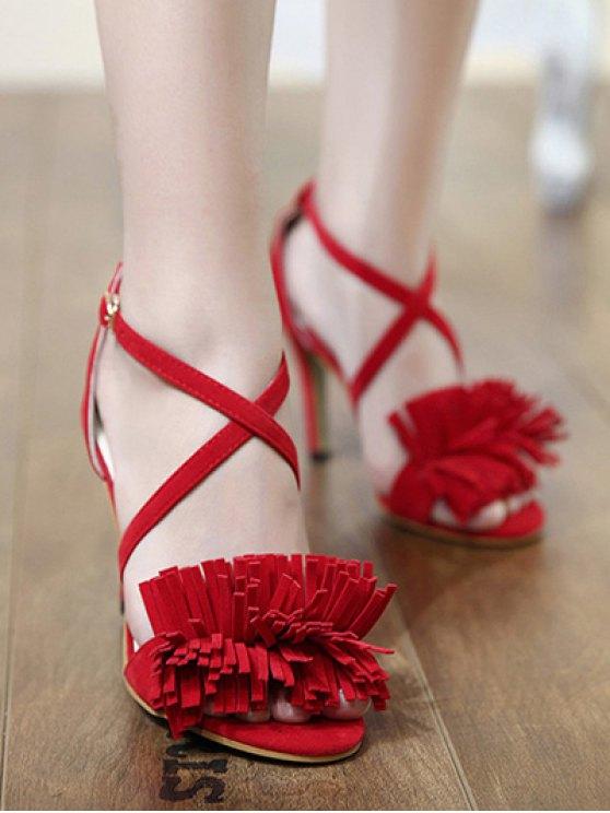 Fringe Cross-Strap Stiletto Heel Sandals - RED 36 Mobile