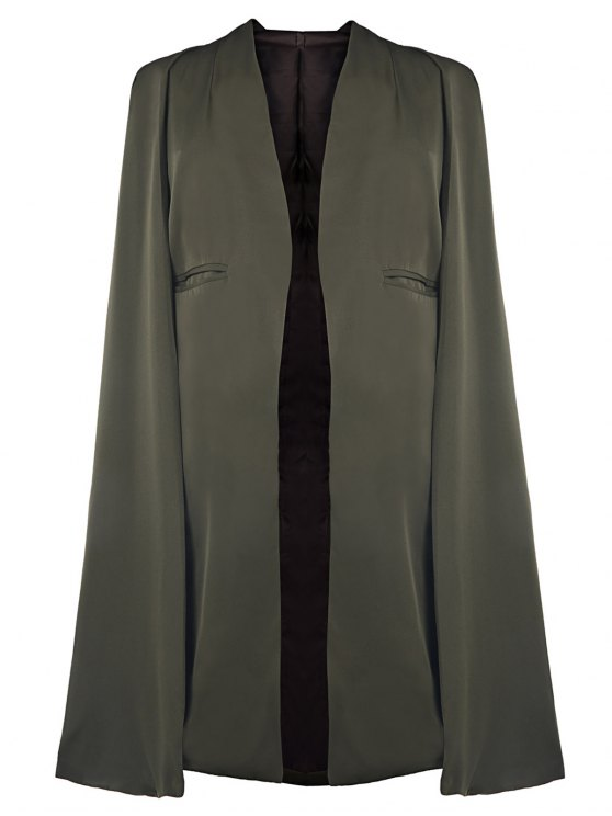 chic Army Green Cape Coat - ARMY GREEN S