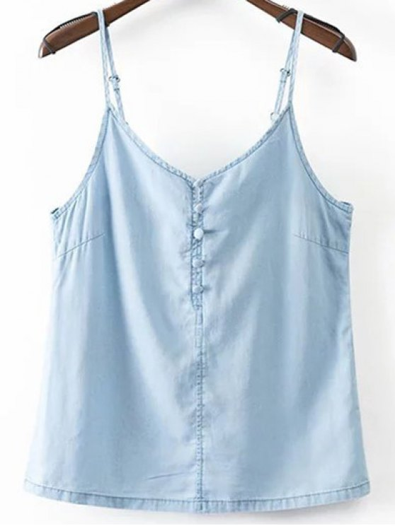trendy Solid Color Spaghetti Straps Chambray Tank Top - LIGHT BLUE L