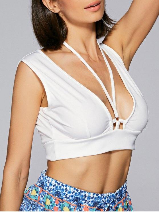 Solid Color Halter Cropped Tank Top - WHITE L Mobile