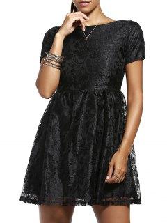 Solid Color Short Sleeve Back V Lace Dress - Black L