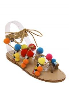 Pompon Lace-Up Flat Heel Sandals - Apricot 36
