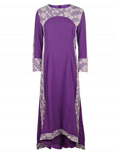 buy Long Sleeve High Low Purple Dress - PURPLE S Mobile
