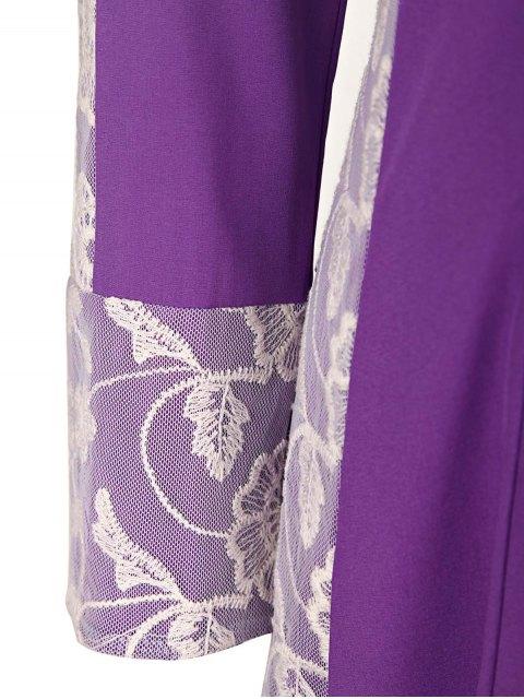 women's Long Sleeve High Low Purple Dress - PURPLE XL Mobile