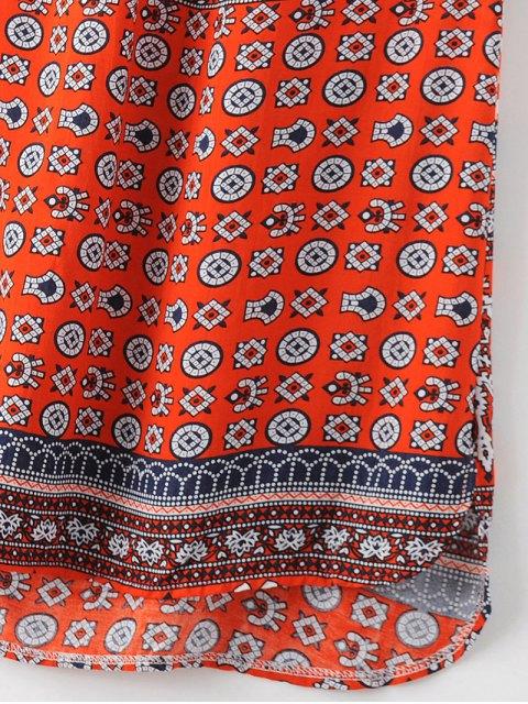 online V-Neck Print Short Sleeve Dress - JACINTH S Mobile
