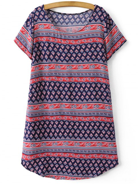 buy Retro Print Short Sleeve Round Neck Dress - COLORMIX S Mobile