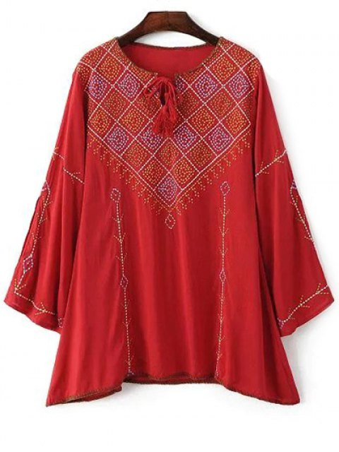 unique Long Sleeve Embroidery Round Neck T-Shirt - RED M Mobile
