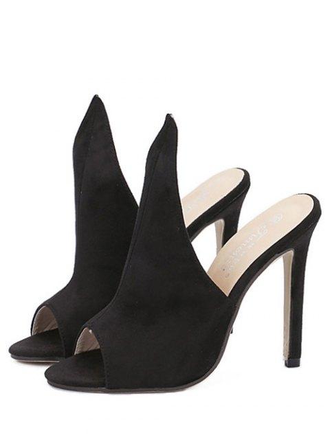 shops Stiletto Heel Suede Peep Toe Slippers - BLACK 39 Mobile