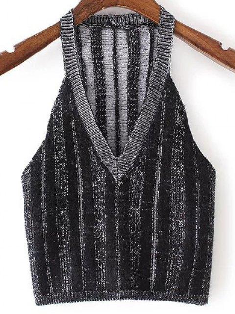 sale Pure Color Plunging Neck Knit Tank Top - BLACK M Mobile