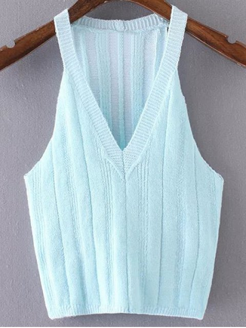 womens Pure Color Plunging Neck Knit Tank Top - AZURE S Mobile