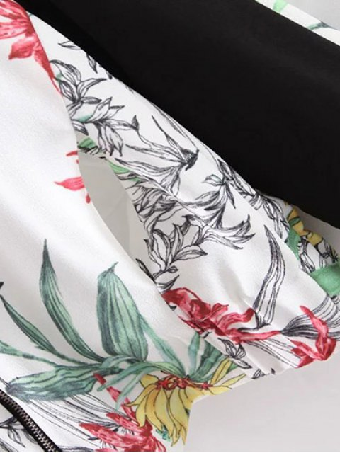 unique Floral Print Stand Collar Baseball Jacket - WHITE M Mobile
