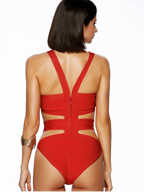 shop Solid Color Cut Out Straps One-Piece Swimwear - RED M Mobile