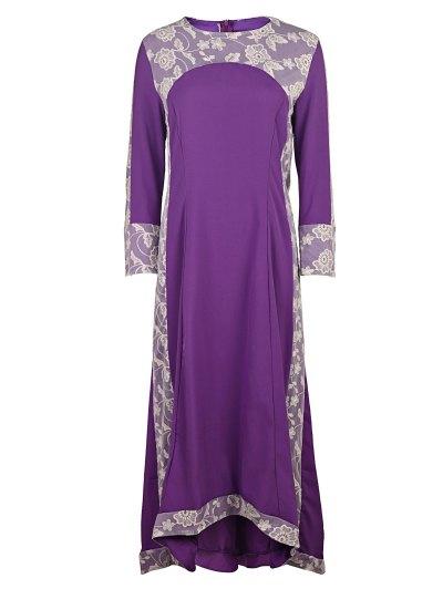 Long Sleeve High Low Purple Dress - Purple