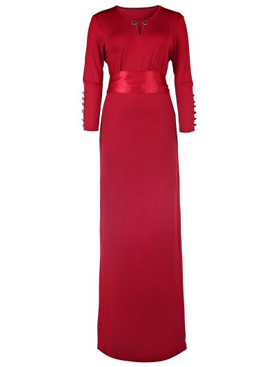 Solid Color Cut Out 3/4 Sleeves Sashes Maxi Dress - Claret