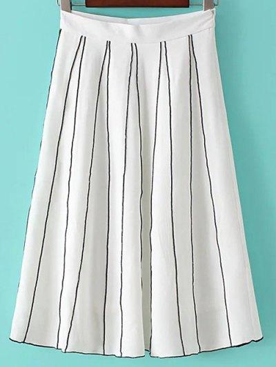 A Line Stripes Skirt - WHITE L Mobile
