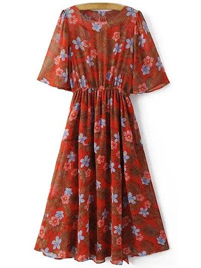 Impresión Floral De Cuello Redondo Vestido De Corte Delantero - Rojo