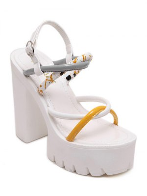 Cross-Strap Color Block Chunky Heel Sandals - White