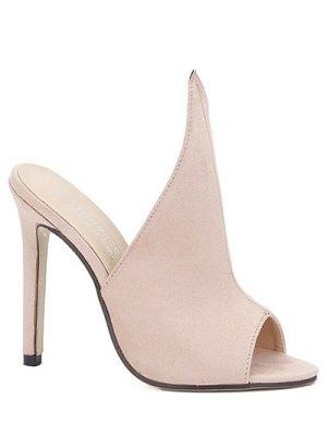 Stiletto Heel Suede Peep Toe Slippers - Apricot