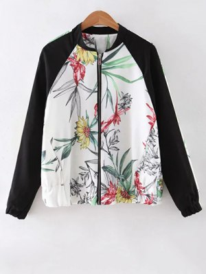 Floral Print Stand Collar Baseball Jacket - White